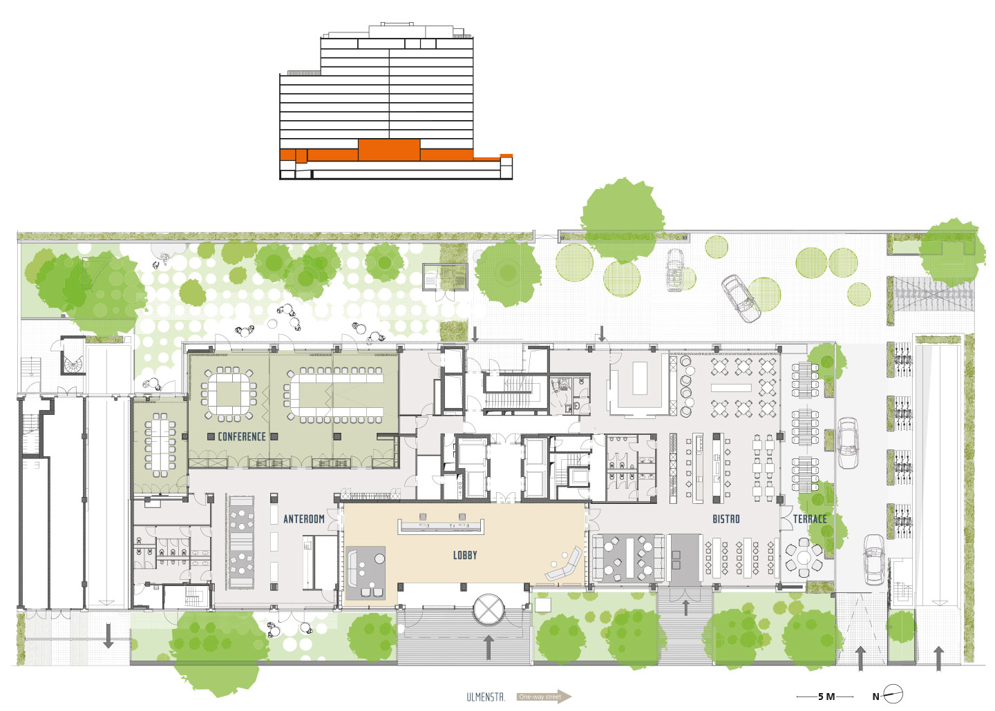 Example of conference area, lobby, bistro with outside terrace*, *All floor plans are indicative preliminary designs.