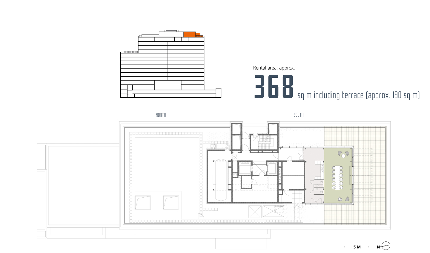 Conference area with roof terrace*, *All floor plans are indicative preliminary designs.